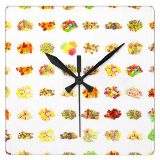 Horloge Carrée Arrière - plan sans couture de motif de sucrerie
