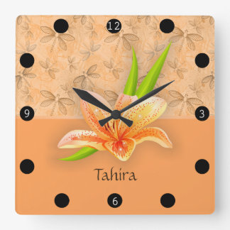 Horloge Carrée Art de Lilium et de nature de couleur de pêche