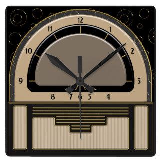 Horloge Carrée Art déco Radiola (Latte, Greige, noir, or)
