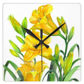 Horloge Carrée Art floral jaune d'hémérocalles d'aquarelle