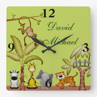 Horloge Carrée Baby shower animal de célébration de safari de