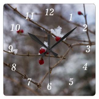 Horloge Carrée Baies neigées