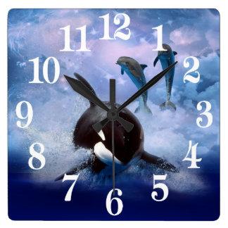 Horloge Carrée Baleine et dauphins rêveurs