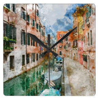 Horloge Carrée Bateaux dans les canaux de Venise Italie