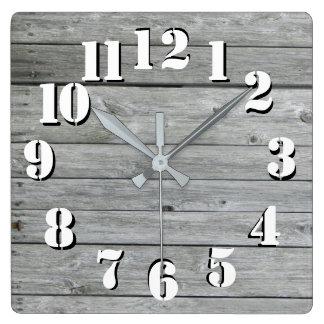 Horloge Carrée Beau regard authentique rustique en bois
