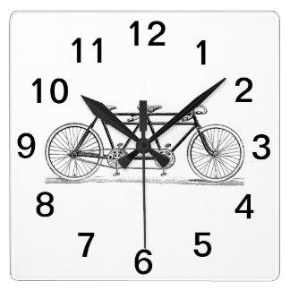 Horloge Carrée Bicyclette vintage construite pour deux/vélo