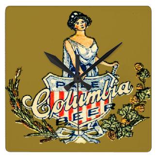 Horloge Carrée Bière pâle de Colombie