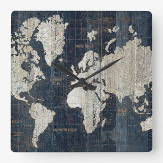 Horloge Carrée Bleu de carte de Vieux Monde