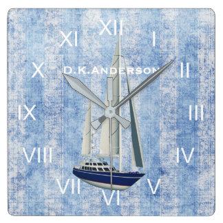 Horloge Carrée Bleu et blanc d'horloge de yacht de navigation