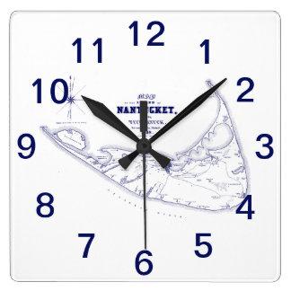 Horloge Carrée Bleu marine vintage de carte de mA d'île de