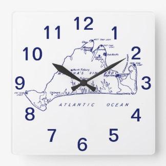 Horloge Carrée Bleu marine vintage de la carte #1 de Martha's