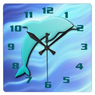 Horloge Carrée Bleu sautant de cool d'effet du dauphin 3D