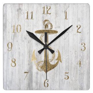 Horloge Carrée Bois blanc vintage de faux d'ancre nautique
