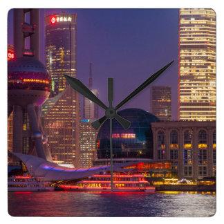 Horloge Carrée Bord de mer du centre Changhaï, Chine