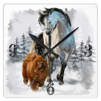 Horloge Carrée Bouffe et cheval de bouffe