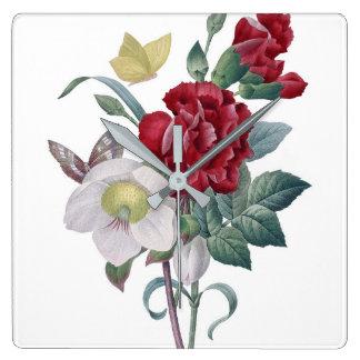 Horloge Carrée bouquet d'anémone et d'oeillets