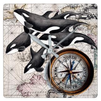 Horloge Carrée Boussole nautique d'orque