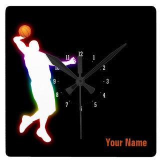 Horloge Carrée Cadeau de sport du joueur de basket |
