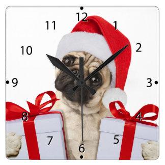 Horloge Carrée Cadeaux de carlin - chien Claus - carlins drôles -