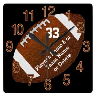 Horloge Carrée Cadeaux supérieurs de nuit du football unique,