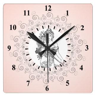 Horloge Carrée Cadre élaboré de frontière de rose vintage élégant