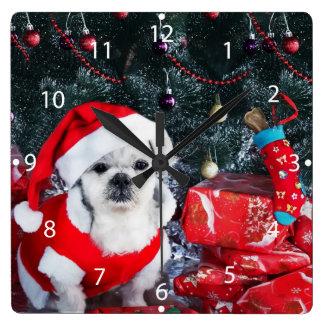 Horloge Carrée Caniche père Noël - chien de Noël - chien du père