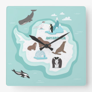 Horloge Carrée Carte animale d'enfants de l'Antarctique