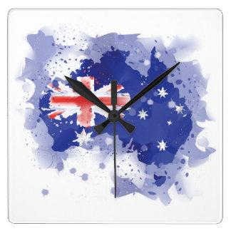 Horloge Carrée Carte d'aquarelle de l'Australie