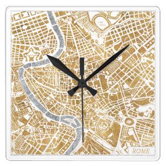 Horloge Carrée Carte dorée de ville de Rome