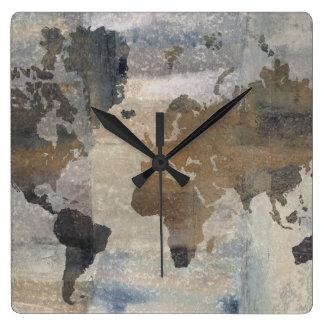 Horloge Carrée Carte en pierre grise du monde