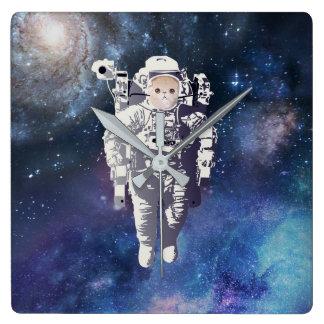 Horloge Carrée Catstronaut - chat dans l'espace