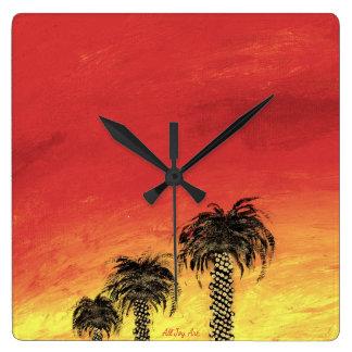 """Horloge Carrée Célébration de désert d'horloge """"par tout l'art de"""