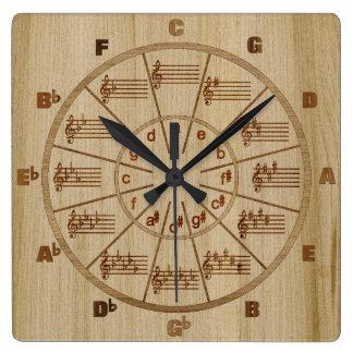 Horloge Carrée Cercle de marqueterie de musical de cinquièmes