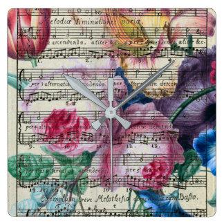 Horloge Carrée Chansons florales