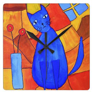 Horloge Carrée Chat bleu
