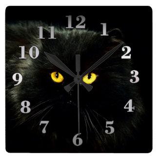 Horloge Carrée Chat noir