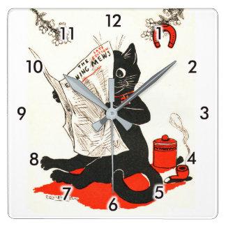 Horloge Carrée Chat noir lisant un journal, Louis Wain