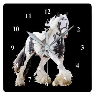 Horloge Carrée Cheval de trait gitan d'étalon de jument