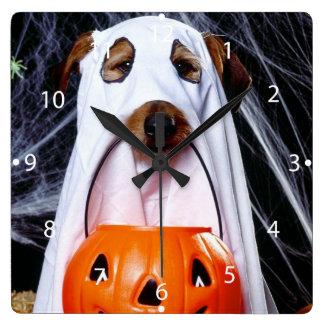 Horloge Carrée Chien de fantôme - chien drôle - poursuivez