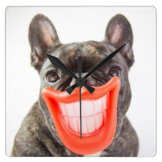 Horloge Carrée Chien de sourire des images | A de Getty