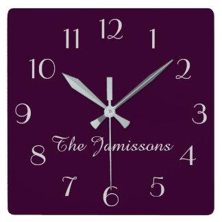 Horloge Carrée CHOISISSEZ VOTRE COULEUR, horloge, défaut pourpre