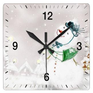 Horloge Carrée Chutes de neige sur Noël