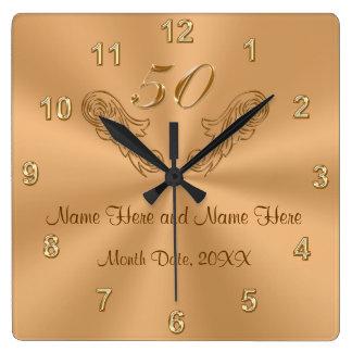 Horloge Carrée Cinquantième cadeaux personnalisés magnifiques
