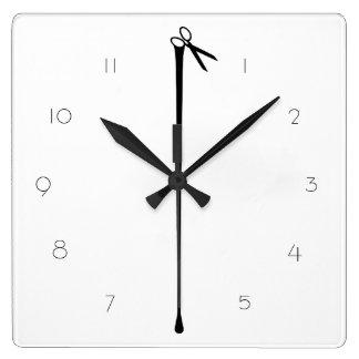 Horloge Carrée Ciseaux noirs chauds BLANCS de MELTPOINT