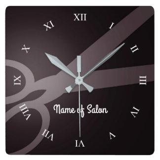 Horloge Carrée Ciseaux | salon de coiffure de Brown foncé et de