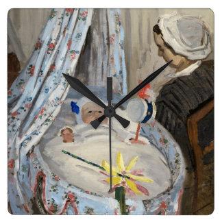 Horloge Carrée Claude Monet | le berceau, Camille avec le fils