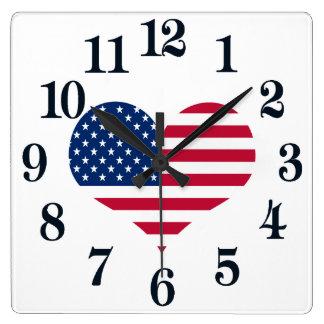 Horloge Carrée Coeur américain des Etats-Unis de drapeau de