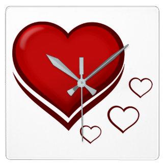 Horloge Carrée Coeur rouge