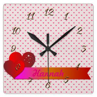 Horloge Carrée Coeurs rouges
