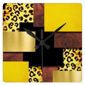 Horloge Carrée Collage d'empreinte de léopard et en bois